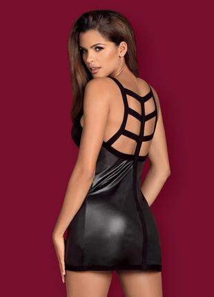 Leatheria obsessive сорочка платье черное с єффектом мокрой кожи