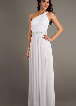Платье вечернее со стразами, бисером и пайетками (S / 44 размер)