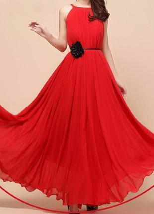 Платье из шифона размер s-l цвет- красный