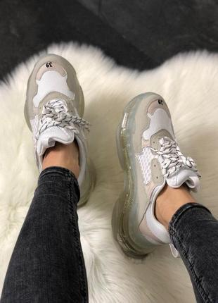 Кроссовки в стиле balenciaga triple s clear sole white grey