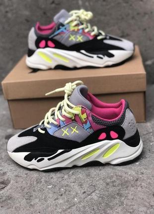 Кроссовки в стиле adidas yeezy boost 700 wave runner pink.