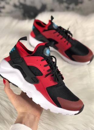 Кроссовки: nike air huarache ultra black red.