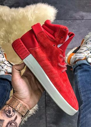 Adidas tubular invader red white.