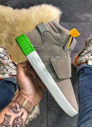 Adidas tubular invader gray green.