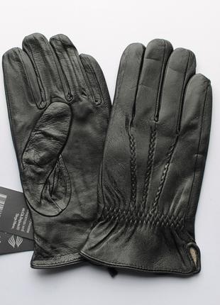 Мужские кожаные перчатки, подкладка шерстяная вязка