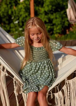 Шифоновое детское короткое платье, оливковый цвет, мини, famil...