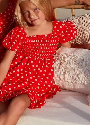 Шифоновое детское короткое платье, мини,  красное в горошек, f...