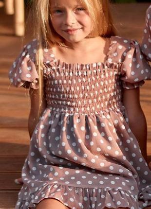 Шифоновое детское короткое платье, мини, бежевое в горошек, fa...