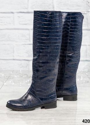 ❤ женские синие весенние осенние деми кожаные высокие сапоги т...