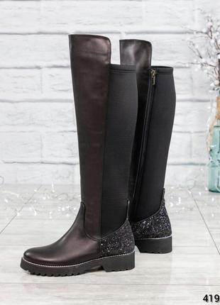 ❤ женские черные осенние весенние деми кожаные высокие сапоги ...