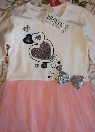 Платье breezeс длинным рукавом для девочки.