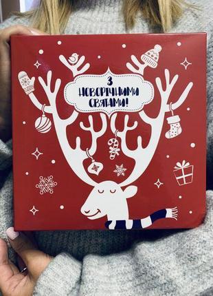 Подарочная коробка Новогодняя 18х18х6 см