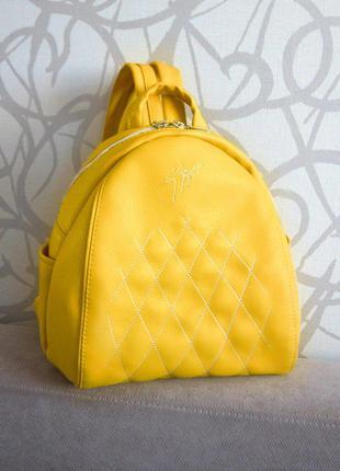 """Женский желтый рюкзак """"Stefany"""" 27, с вышивкой"""
