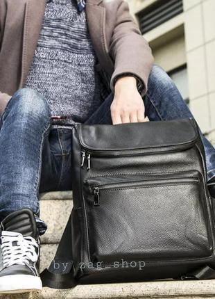 Стильный кожаный мужской рюкзак чёрный сумка дорожная портфель...
