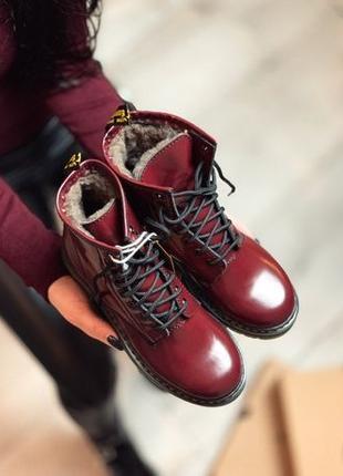 Женские зимние ботинки вишневые Dr Martens Cherry (Доктор Март...