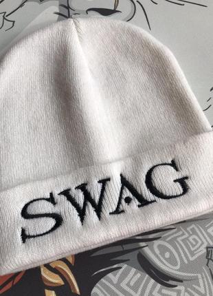 Шапка зимняя белая swag распродажа