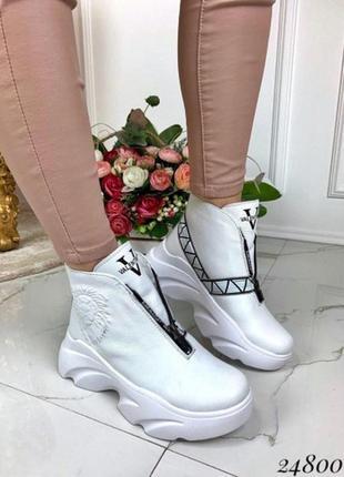 36 р теплющие белые хайтопы ботинки (натуральная кожа) на плот...