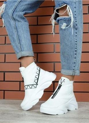 36 р теплющие белые хайтопы ботинки {натуральная кожа} на плот...