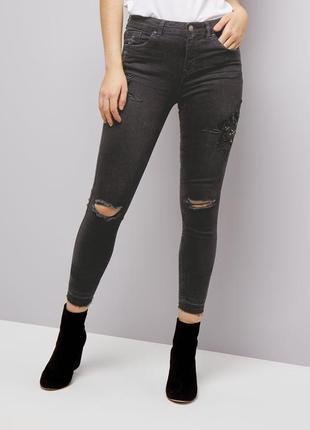Черные джинсы скинни new look