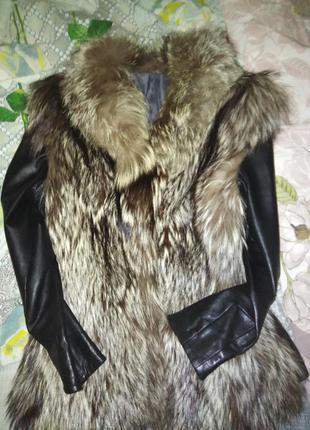 Кожаная куртка. чернобурка цельная