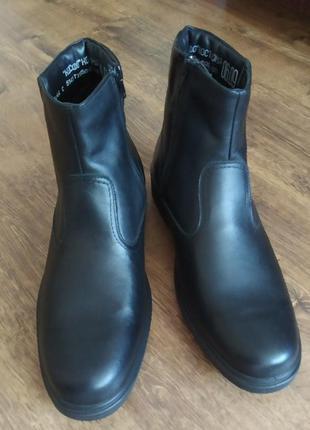 Кожаные ботинки сапоги зимние