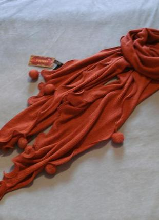 Зимний шарф терракотового цвета ashma