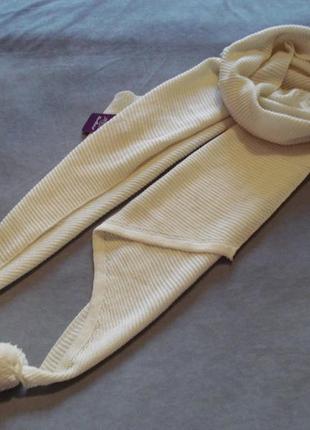 Зимний вязаний шарф-палантин