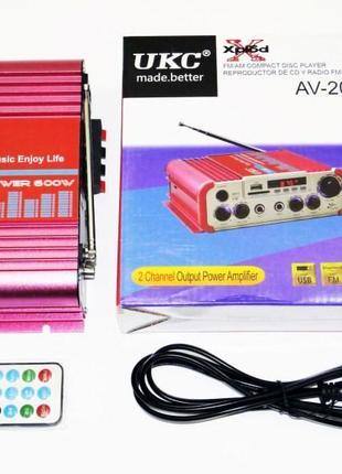 Усилитель UKC AV-206U - Bluetooth, USB,SD,FM,MP3! 300W + 300W