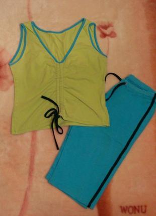 Спортивный костюм топ и шорты, для фитнеса и йоги