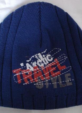 Теплая синяя шапка для мальчика