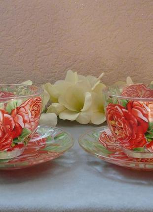 Чайный набор с розами на 4 предмета