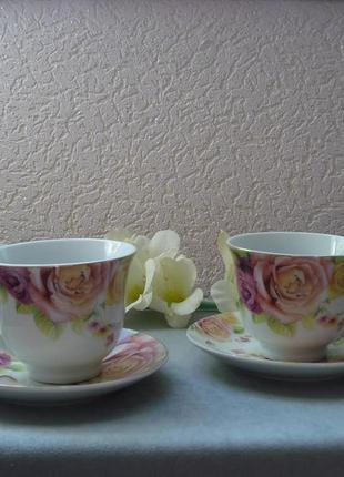 Чайный набор букет роз на 4 предмета