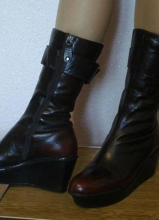 Зимние кожаные сапоги на цигейке corso como