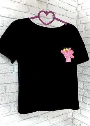Футболка черная принт Pink Panther