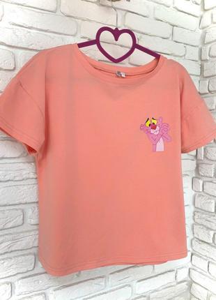 Футболка розовая с принтом Pink Panther
