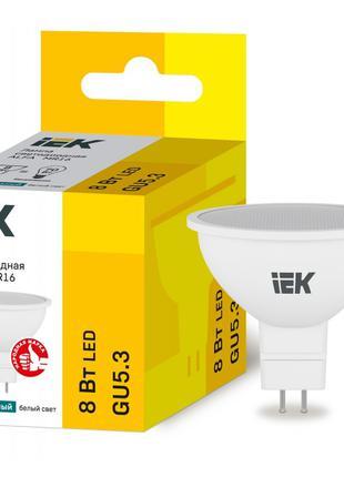 Лампа світлодіодна LED ALFA MR16 8Вт 230В 4000К GU5,3 IEK (LLA...