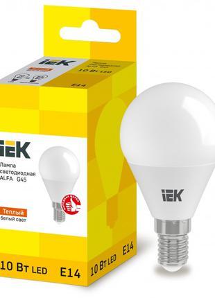 Лампа світлодіодна LED ALFA G45 куля 10Вт 230В 3000К E14 IEK (...