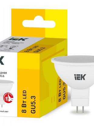 Лампа світлодіодна LED ALFA MR16 8Вт 230В 3000К GU5,3 IEK (LLA...