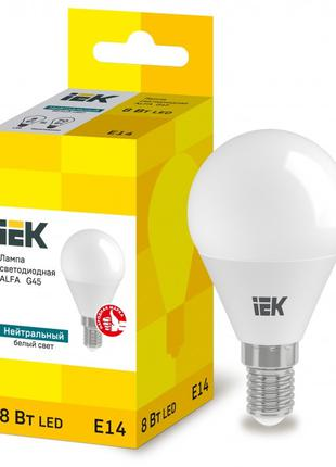 Лампа світлодіодна LED ALFA G45 куля 8Вт 230В 4000К E14 IEK (L...