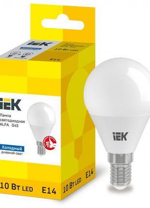 Лампа світлодіодна LED ALFA G45 куля 10Вт 230В 6500К E14 IEK (...