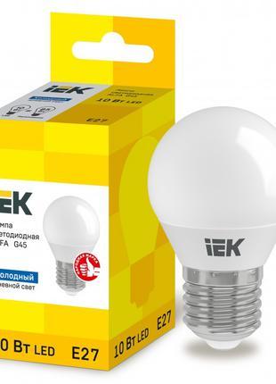 Лампа світлодіодна LED ALFA G45 куля 10Вт 230В 6500К E27 IEK (...