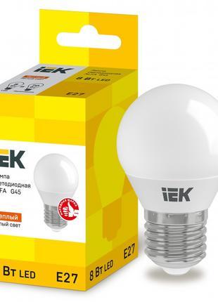 Лампа світлодіодна LED ALFA G45 куля 8Вт 230В 3000К E27 IEK (L...