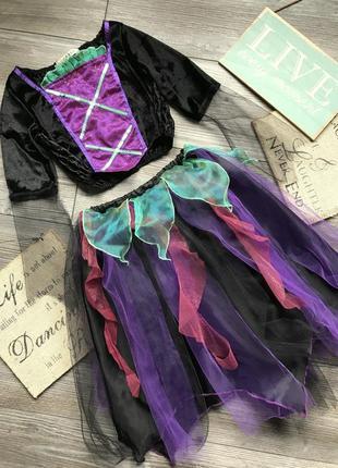 Костюм платье фея волшебница ночь колдунья хэллоуин цветочек g...