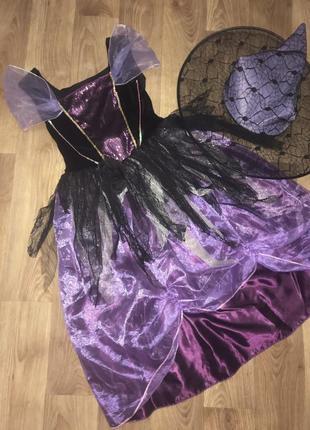 Платье фея волшебница колдунья хэллоуин ночь 8-11л