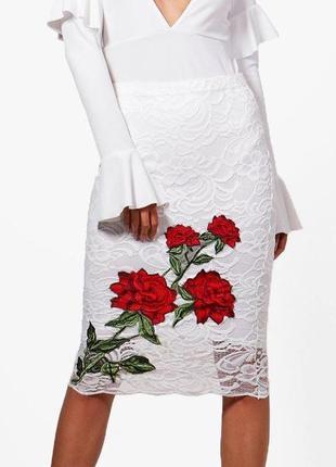 🌹 узкая юбка-миди-карандаш кружевная с вышивкой boohoo оригина...