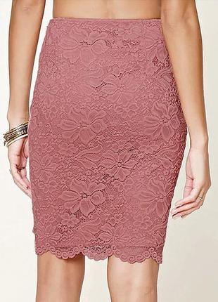 Forever21- кружевная юбка-миди, карандаш, пепельно-розовая - р...
