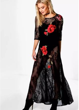 Распродажа! - платье-сетка с объемными цветами, вышивка, ориги...