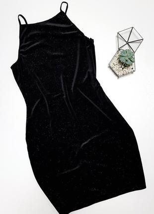 Черное платье бархатное в блестки