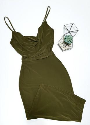 Платье хаки миди с блеском