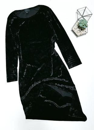 Черное велюровое платье миди